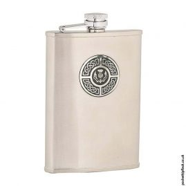 8oz-Brushed-Stainless-Steel-Hip-Flask-with-Celtic-Thistle-Badge