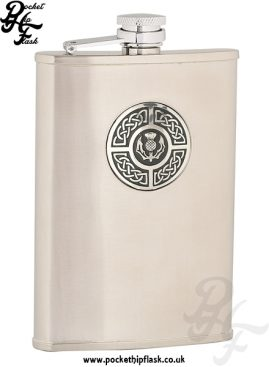 8oz Brushed Stainless Steel Hip Flask with Celtic Thistle Badge