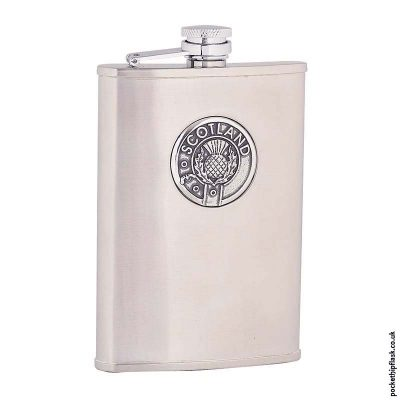 8oz-Brushed-Stainless-Steel-Hip-Flask-with-Scotland-Badge