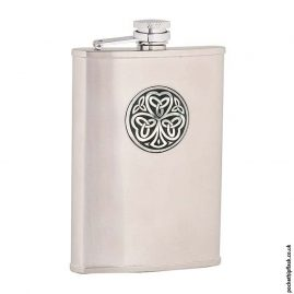 8oz-Brushed-Stainless-Steel-Hip-Flask-with-Shamrock-Badge