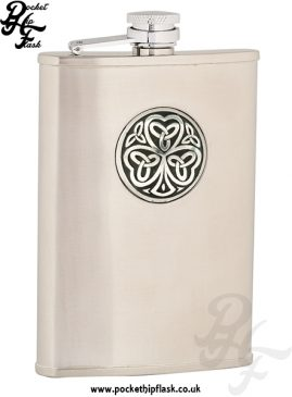 8oz Brushed Stainless Steel Hip Flask with Shamrock Badge
