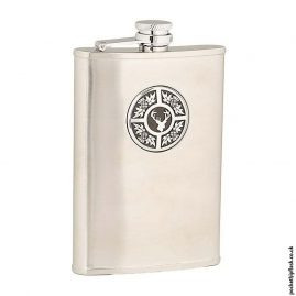 8oz-Brushed-Stainless-Steel-Hip-Flask-with-Stag-and-Thistle-Badge
