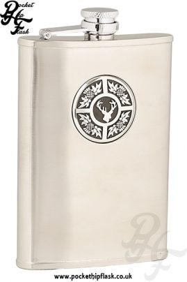 8oz Brushed Stainless Steel Hip Flask with Stag and Thistle Badge