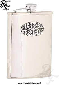 8oz Shiny Stainless Steel Hip Flask with Oval Celtic Badge