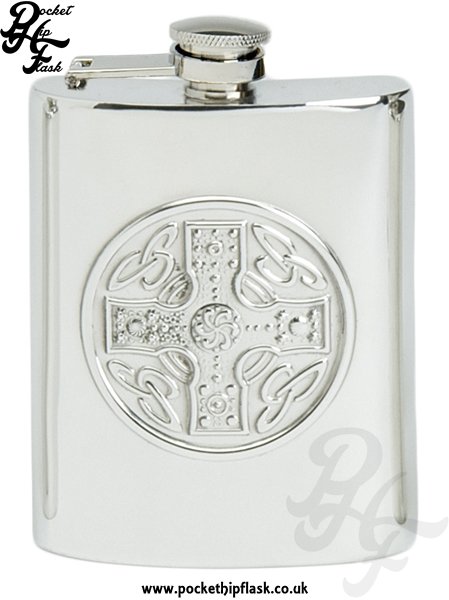 Celtic Cross 6oz Pewter Hip Flask with with Captive Top