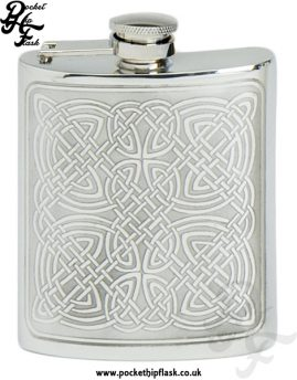 Celtic Design 6oz Pewter Hip Flask with Captive Top