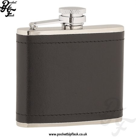 4oz Stainless Steel Hip Flask Wrapped in Black Leather