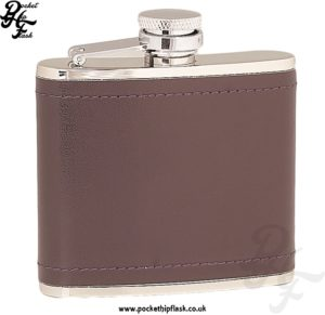 4oz Stainless Steel Hip Flask Wrapped in Burgundy Leather