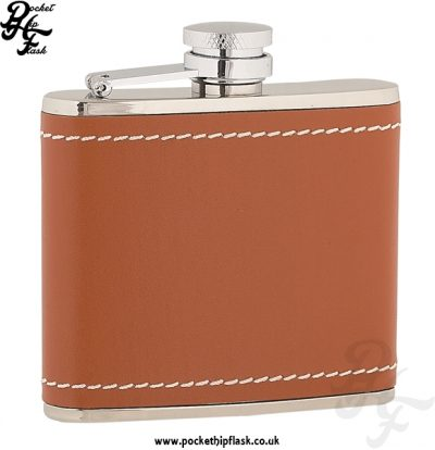4oz Stainless Steel Hip Flask Wrapped in Tan Leather
