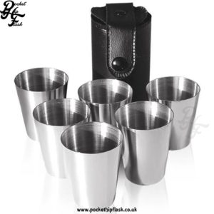 Hip Flask Happiness - Leather Cup Set