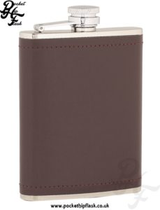 6oz Stainless Steel Hip Flask Wrapped in Burgundy Leather