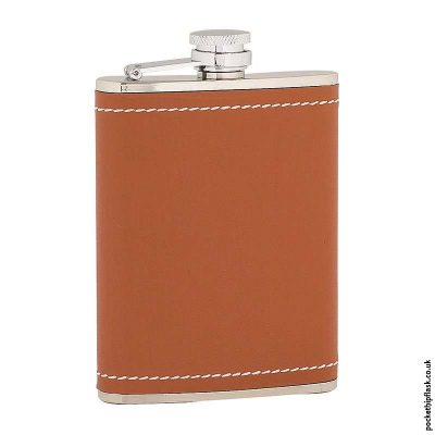 6oz-Stainless-Steel-Hip-Flask-Wrapped-in-Tan-Leather