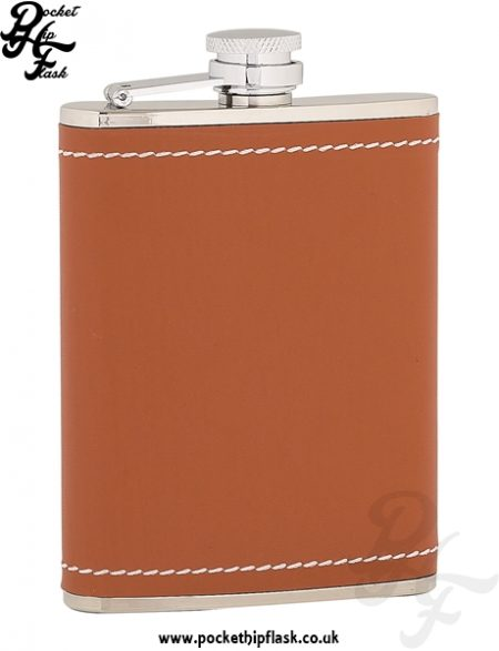 6oz Stainless Steel Hip Flask Wrapped in Tan Leather