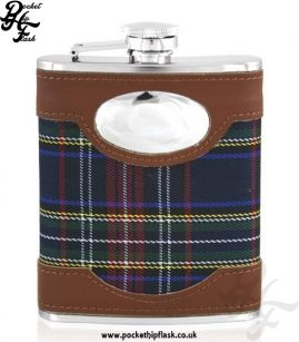 6oz Stainless Steel Hip Flask with Blue Tartan and Engraving Plate