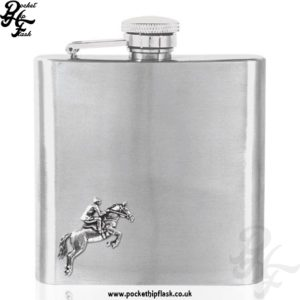 6oz Stainless Steel Hip Flask with Pewter Horse and Rider 1
