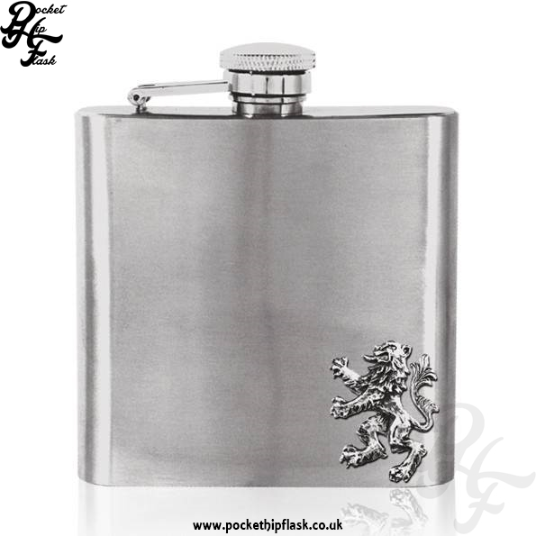 6oz Stainless Steel Hip Flask with Pewter Lion Rampart of Scotland