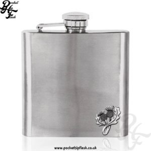 6oz Stainless Steel Hip Flask with Pewter Thistle