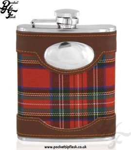 6oz Stainless Steel Hip Flask with Red Tartan and Engraving Plate