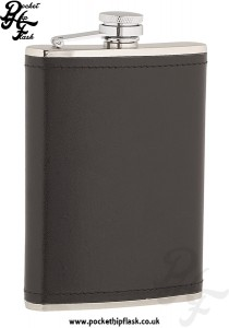 8oz Stainless Steel Hip Flask Wrapped in Black Leather