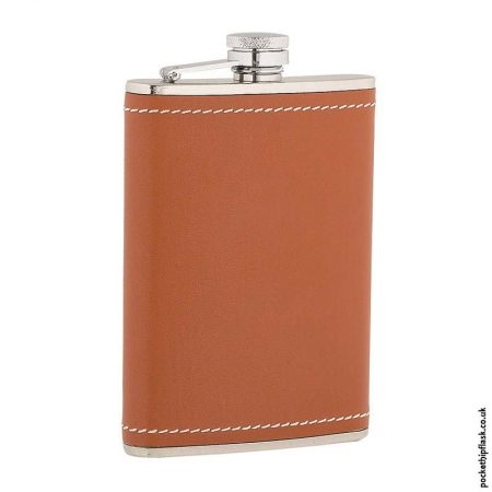 8oz-Stainless-Steel-Hip-Flask-Wrapped-in-Tan-Leather