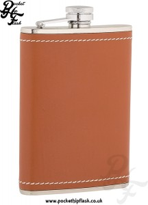 8oz Stainless Steel Hip Flask Wrapped in Tan Leather