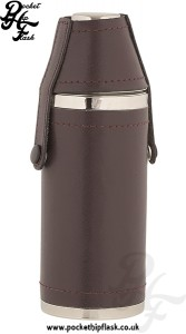 8oz Stainless Steel Hunters Flask Wrapped in Burgundy Leather