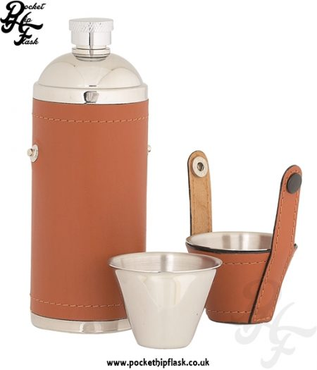 8oz Stainless Steel Hunters Flask Wrapped in Tan Leather Open