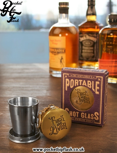 Collapsible shot glass, Travel Cup, Fuck my Liver, Boxed