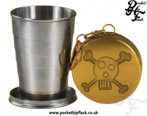 Collapsible shot glass, Travel Cup, Skull and Cross Bones