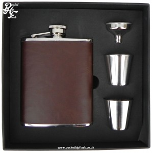 6oz Stainless Steel Hip Flask and Cups Gift Set Brown Leather Effect,