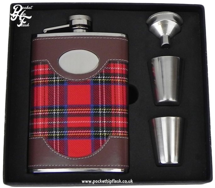 8oz Stainless Red Tartan Steel Hip Flask and Cups Gift Set