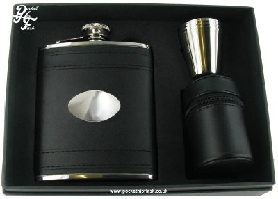 Black Leather Hip Flask set with four cups and Brown Letaher Cup Case 6oz stainless steel