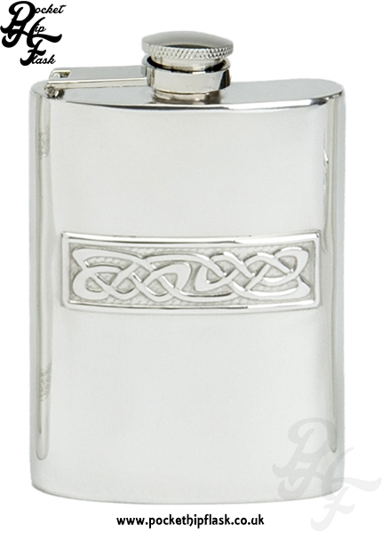 4oz Captive Top Pewter Hip Flask with Celtic Casting