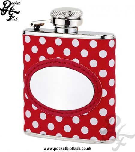 2.5oz Stainless Steel Hip Flask with White and Red Poker Dot Letherette