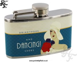 3oz Stainless Steel Jitterbug Hip Flask - Dancing Shoes