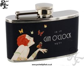 3oz Stainless Steel Jitterbug Hip Flask - Gin O'Clock