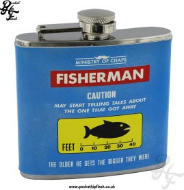5oz Stainless Steel Blue Fisherman Hip Flask