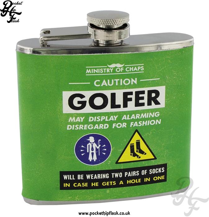 5oz Stainless Steel Green Golfer Hip Flask