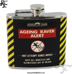5oz Stainless Steel Hip Flask - Ageing Raver Alert