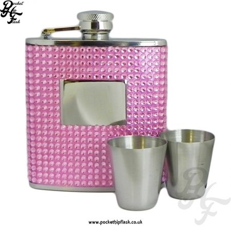 6oz Stainless Steel Hip Flask Gift Set with Pink Diamante