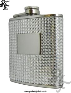 6oz Stainless Steel Hip Flask with Clear Diamante