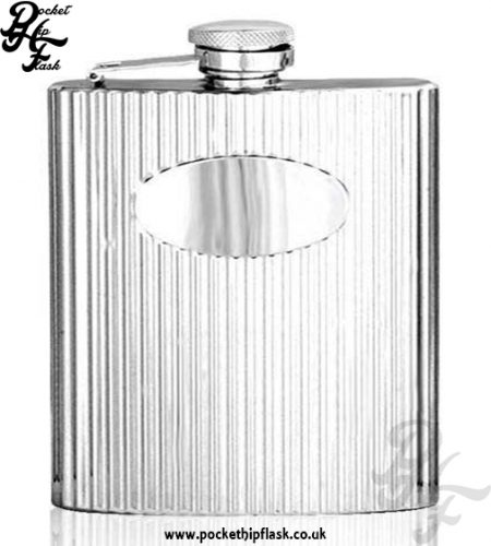 Ribbed Effect 6oz Stainless Steel Hip Flask