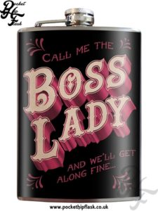 Boss Lady 8oz Stainless Steel Hip Flask with Original Artwork