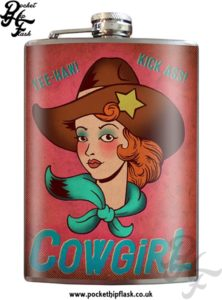 Cowgirl 8oz Stainless Steel Hip Flask with Original Artwork