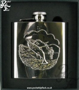 Shiny 6oz Stainless Steel Hip Flask with Stamped Fishing Scene