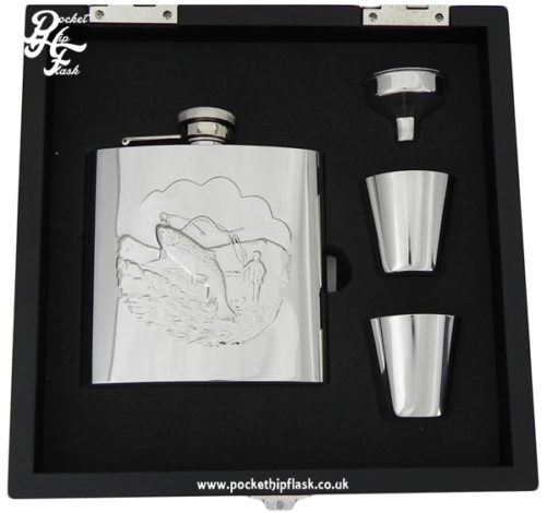 Shiny Fishing 6oz Stainless Steel Hip Flask and Cups gift set in black wooden presentation box
