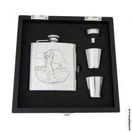 Shiny-Golfing-6oz-Hip-Flask-Gift-Set-in-Black-Wooden-Presentation-Box