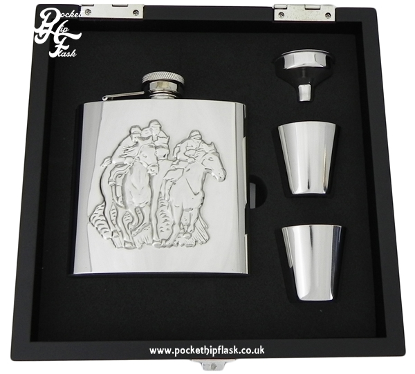 Shiny Horse Racing 6oz Stainless Steel Hip Flask and Cups gift set in black wooden presentation box
