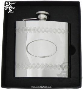 Shiny Polished Celtic Pattern Stainless Steel Hip Flask, with Captive Top 6oz,
