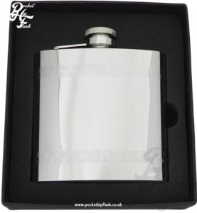 Shiny Polished Cross and Lines Stainless Steel 6oz Hip Flask with Captive Top